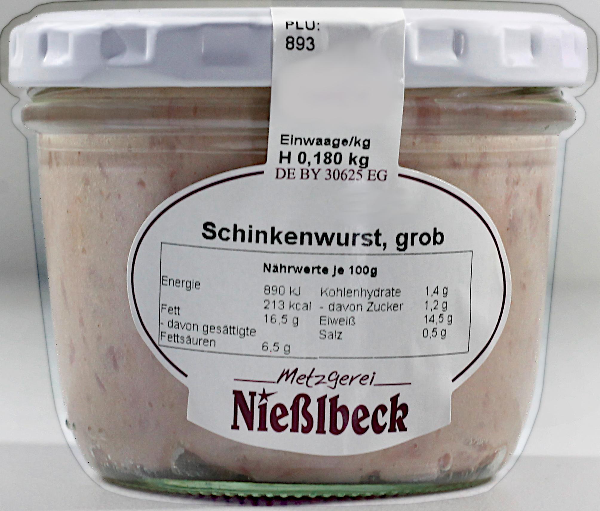 Schinkenwurst, grob (Glas 180g)