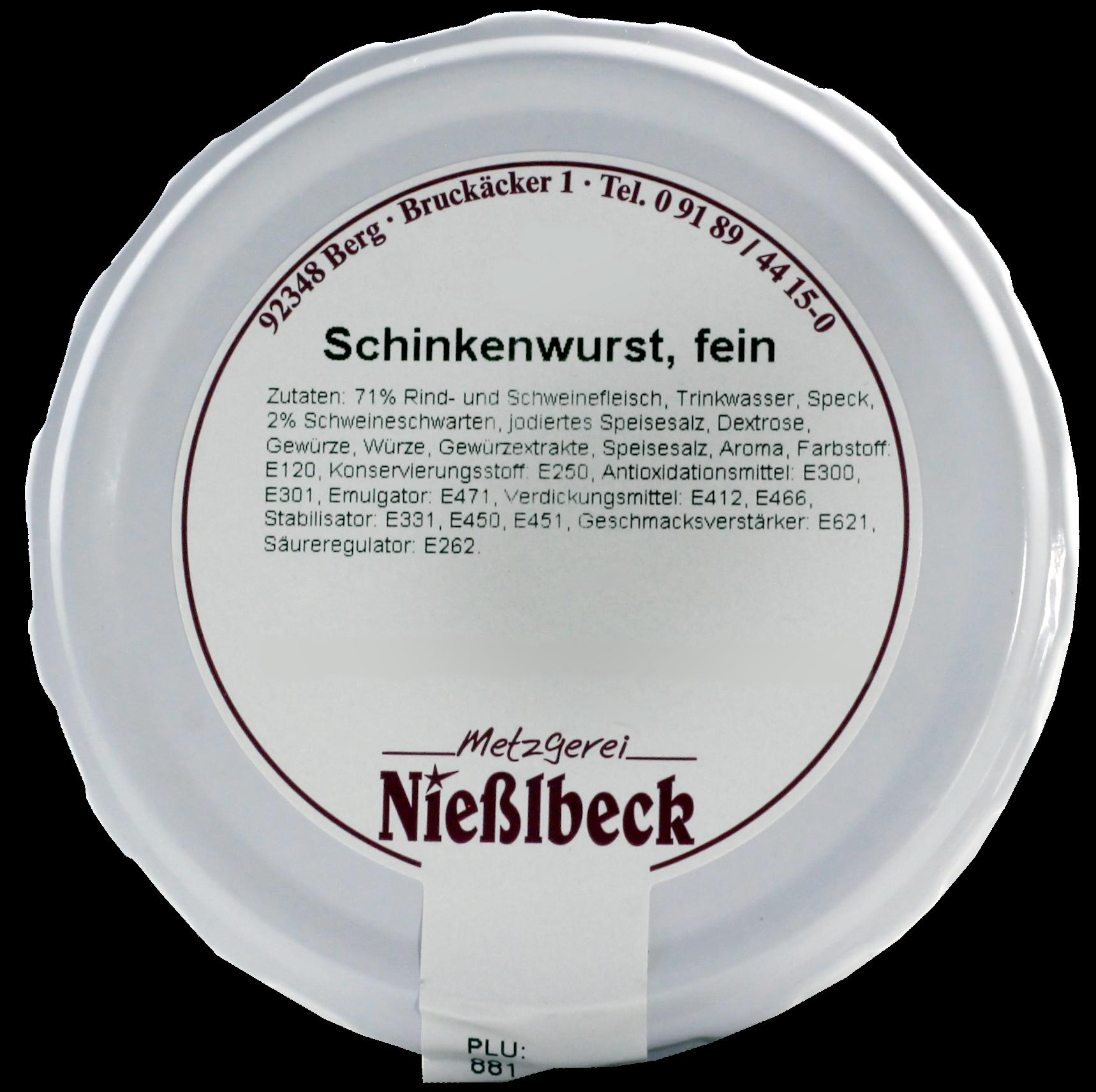Schinkenwurst, fein (Glas 180g)